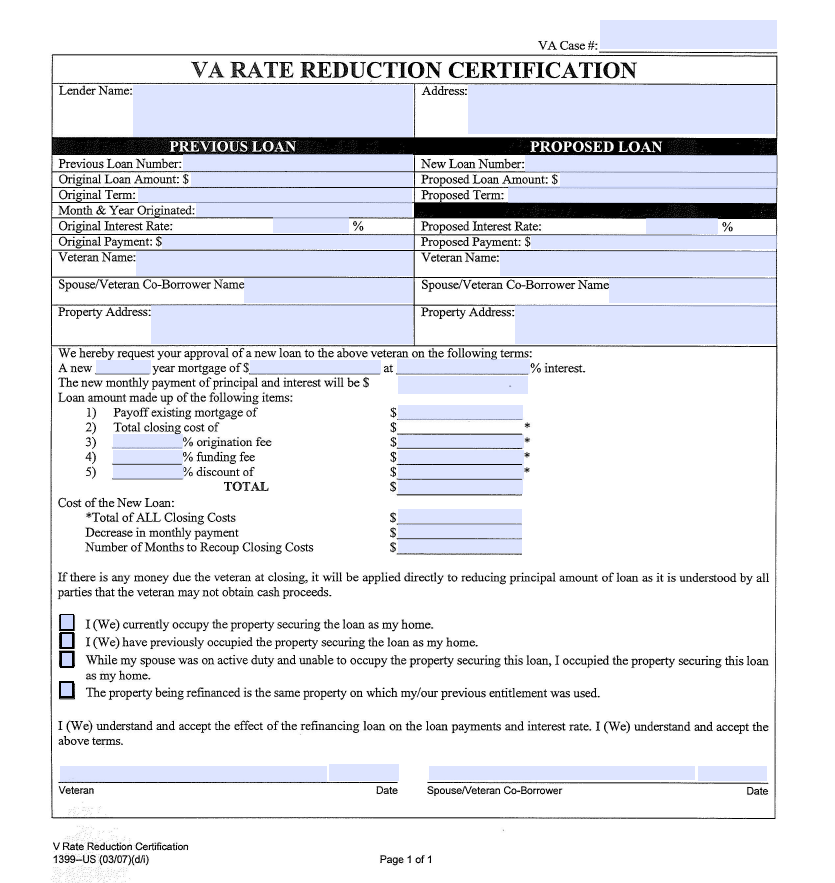 VA Rate Reduction Certification Form Now Required for VA IRRRLs ...