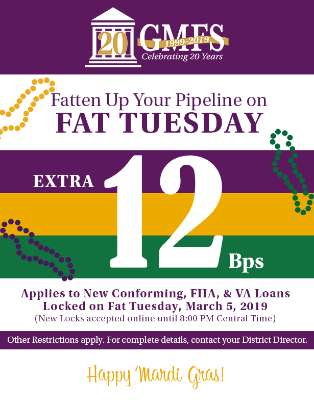 Special Fat Tuesday Pricing from GMFS Celebrating Mardi Gras 2019!